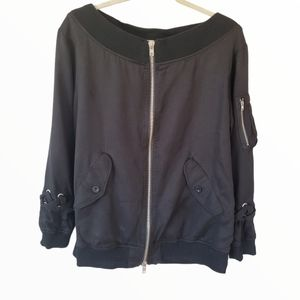 Wide Collar Black Bomber Jacket w/Shoe Lace Accent